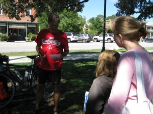 Bike Tour Leader Dave Cox Talking With Homeschooling Family